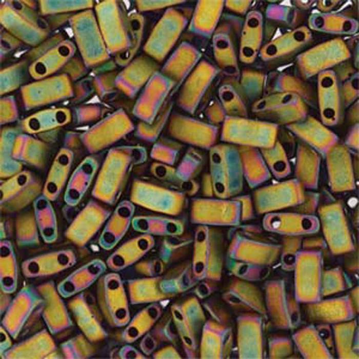 Metallic Iris Khaki Matte Half Tila Beads 7.2 Gram Miuki Square 5mm 2 hole