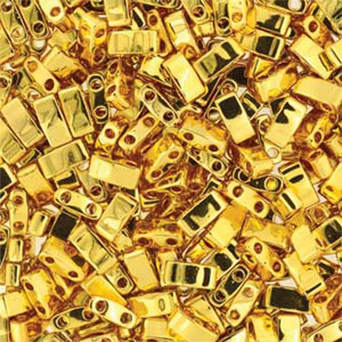 Gold Plated Half Tila Beads 7.2 Gram Miuki Square 5mm 2 hole