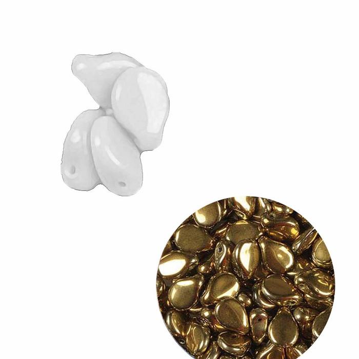 Jet Amber 5x7mm Pressed Czech Glass (Petal Flower) loose strand approx 60 Beads