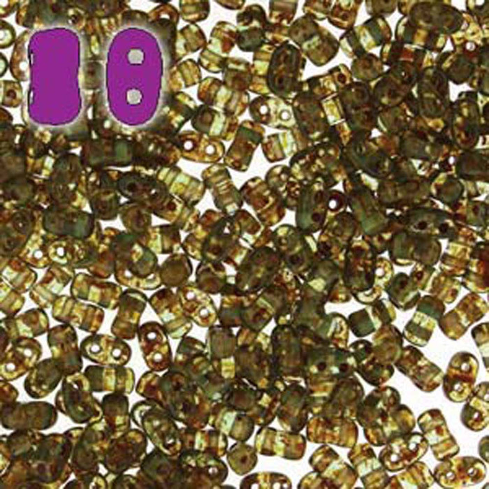 Aqua Travertine BI-BO Czech Glass 2 hole Seed Beads 5.5x2.8mm 22gr