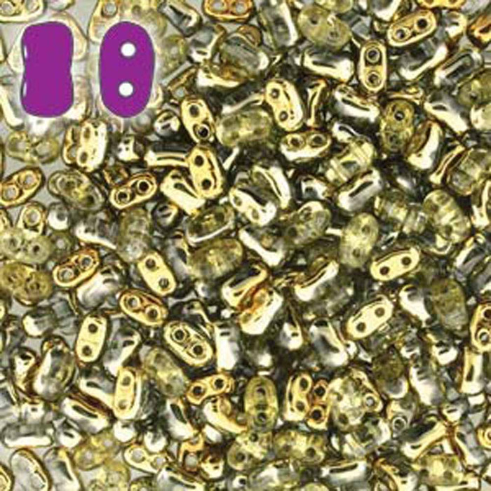 Amber BI-BO Czech Glass 2 hole Seed Beads 5.5x2.8mm 22gr