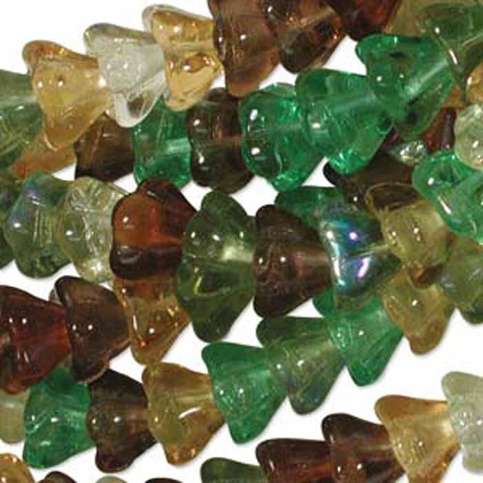 Earth Tones Mix 6x8mm Flower Cone 45 Bead Cap Czech Glass Beads