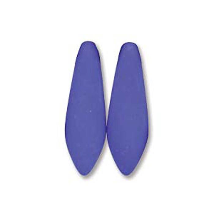 Neon Blue 25 Czech Glass Dagger Drop Beads 5x16mm