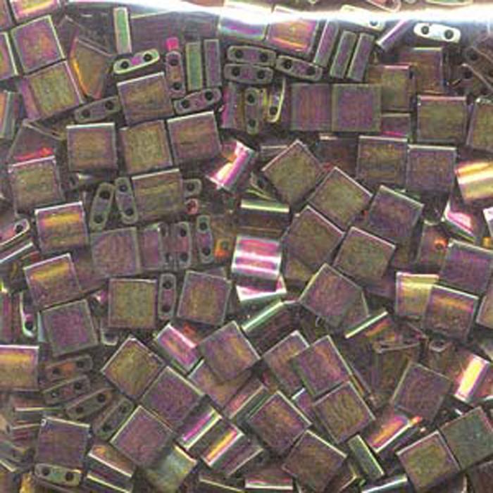 Bronze Metallic Iris Luster Miyuki Tila Beads 7.2gm 2 Hole Seed Bead 5x5mm