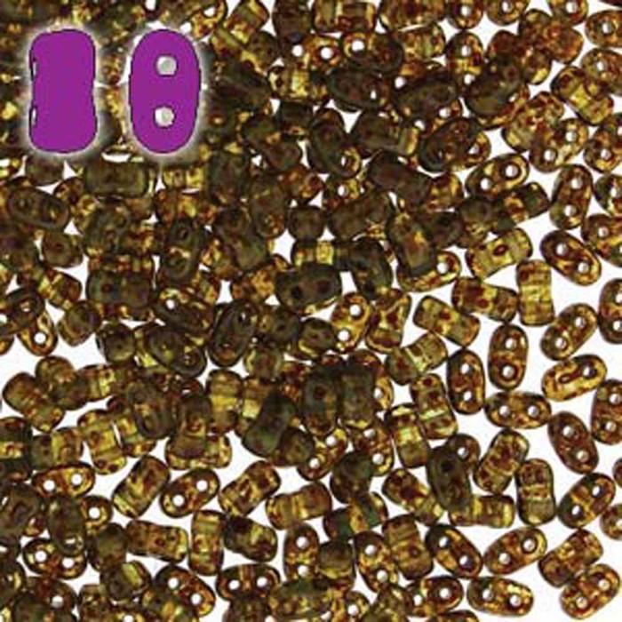 Aqua Travertine Dark BI-BO Czech Glass 2 hole Seed Beads 5.5x2.8mm 22gr