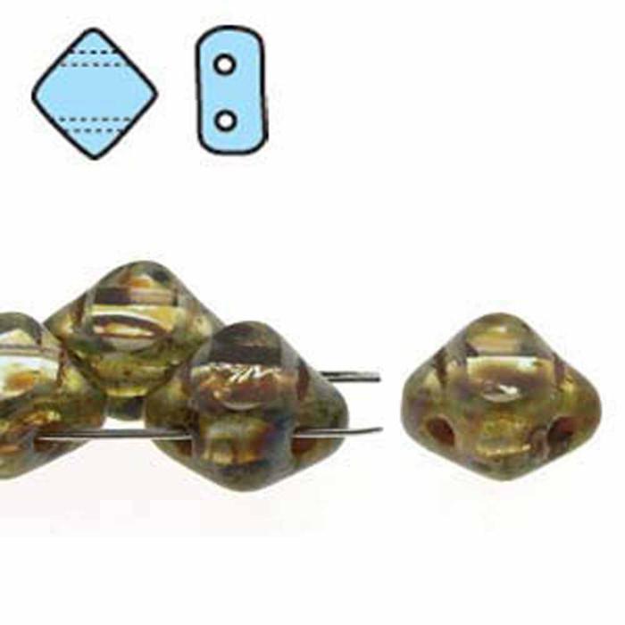 Alexandrite Picasso Table Cut 6mm Diamond Glass Czech Two Hole Tile Bead 40 Beads