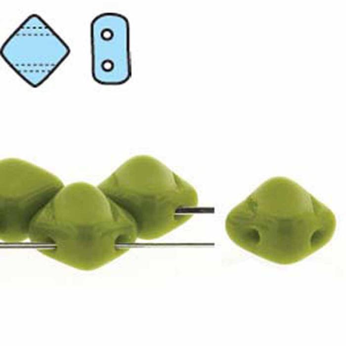 Green Opaque 6mm Diamond Glass Czech Two Hole Tile Bead 40 Beads