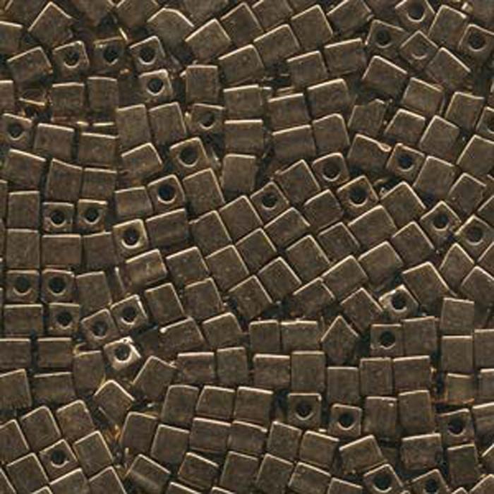 20Gr Bronze Metallic Miyuki 4mm Square Cube Glass Seed Beads