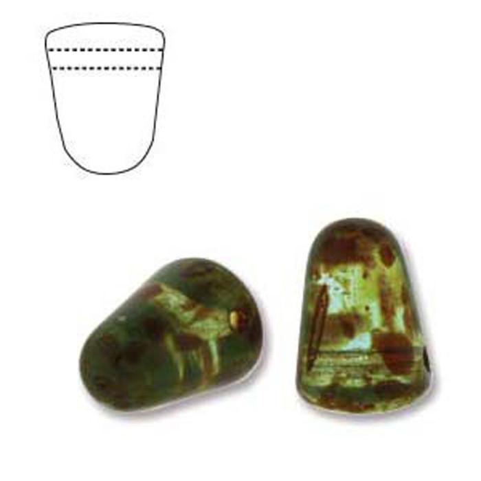 Light Aqua Picasso 20 Czech Glass Gumdrop Beads 7.5x10mm