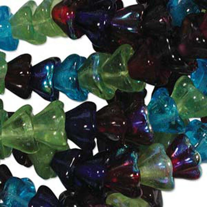 Gemstone Mix 10x13mm Flower Cone 45 Bead Cap Czech Glass Beads
