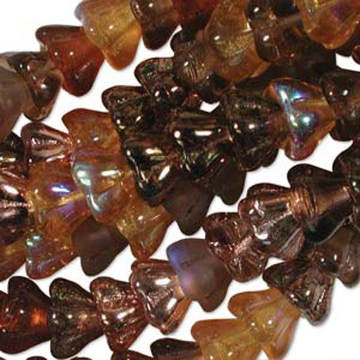 Wheatberry Mix 10x13mm Flower Cone 45 Bead Cap Czech Glass Beads