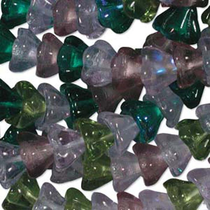 Lavender Garden Mix 10x13mm Flower Cone 45 Bead Cap Czech Glass Beads