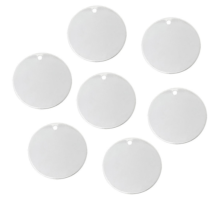 15 Silver Plated Brass Alloy Metal Stamping Blanks Round Drop Dia 25mm