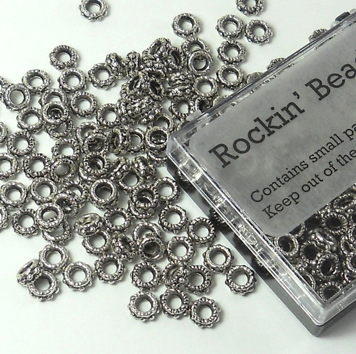 100 6x2mm 3mm Hole Rondelle Daisy Beads Antiqued Silver Cast Pewter Metal Beads