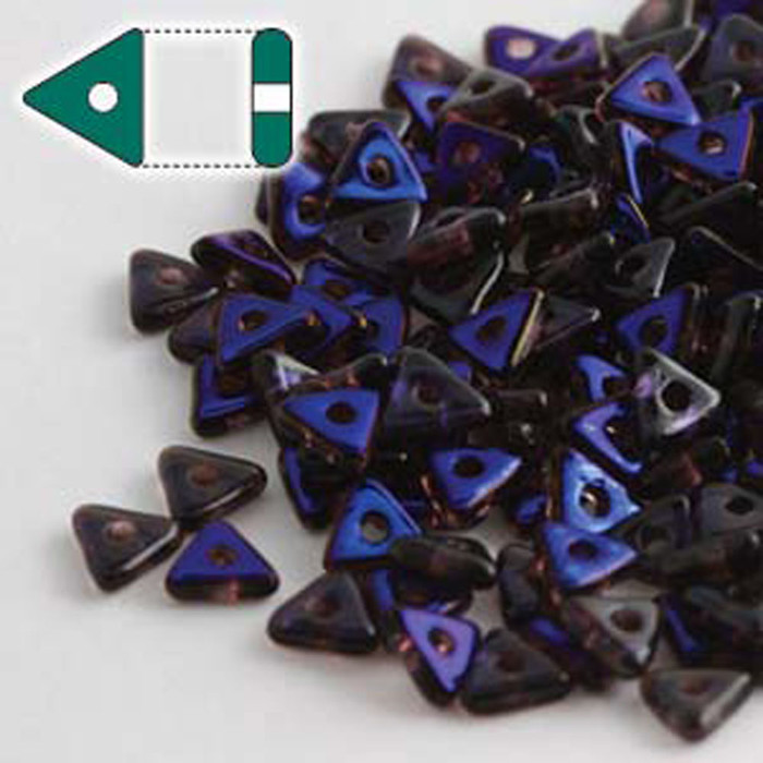 Amethyst Azuro Czech Glass Sead Tri Beads 4.6mmx1.3mm Thick Approx 9gr Tube