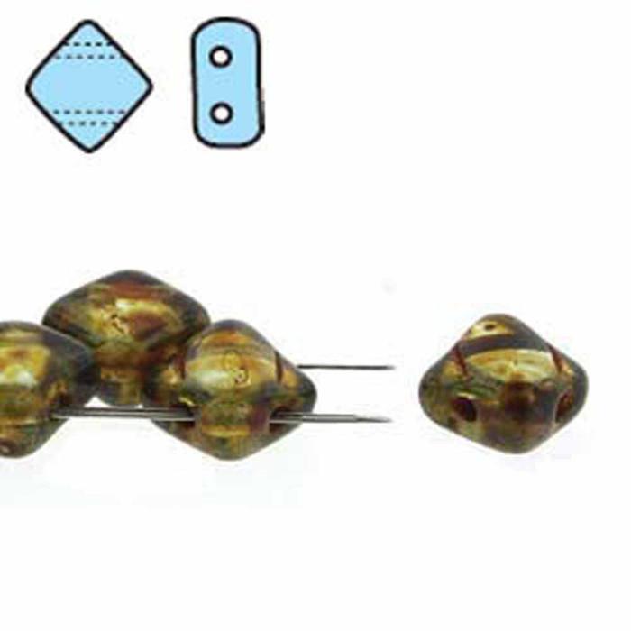 Alexandrite Picasso 6mm Diamond Glass Czech Two Hole Tile Bead 40 Beads