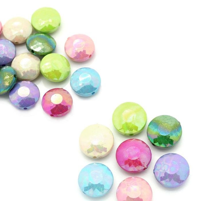 90 Acrylic Faceted Puffed Coin Random Ab Mix Faceted 14mm Hole Approx 1mm