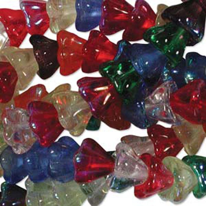 Rainbow AB Mix Mix 10x13mm Flower Cone 45 Bead Cap Czech Glass Beads