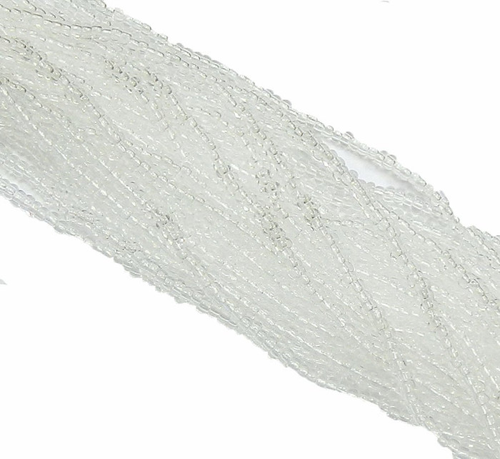 Crystal Clear Czech 6/0 Seed Bead on Loose Strung 6 String Hank