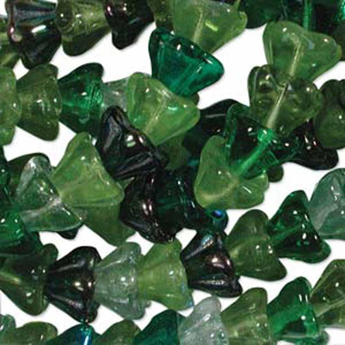 Evergreen Mix 6x8mm Flower Cone 45 Bead Cap Czech Glass Beads
