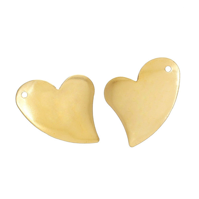 100 Solid Brass Stamping Heart Blanks with Hole Disk Tag Pendants 20x16mm 3/4x5/8 Inch Require Polishing