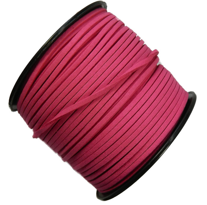 Pink Micro Fiber Faux Suede 3mm 90 Yard Spool Flat Lace Beading Craft Cord