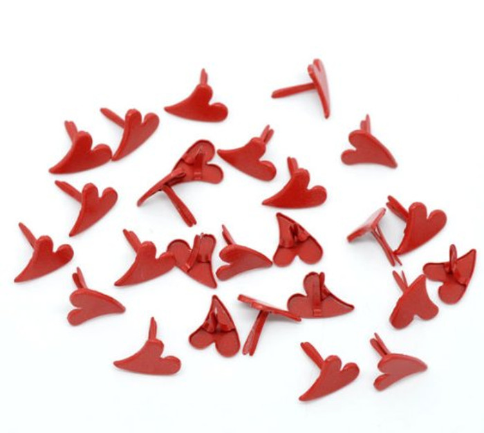 100 Paper Craft Fasteners Red Heart Brads 1/3 Inches Shank, 9.5mm Head