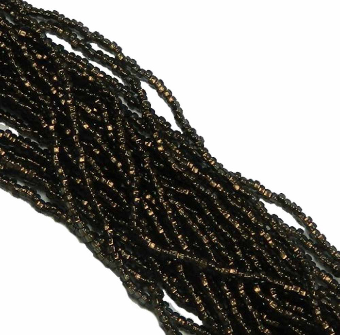 Black Diamond Copper Lined Preciosa Czech Glass 6/0 Seed Bead on Loose Strung 6 String Hank
