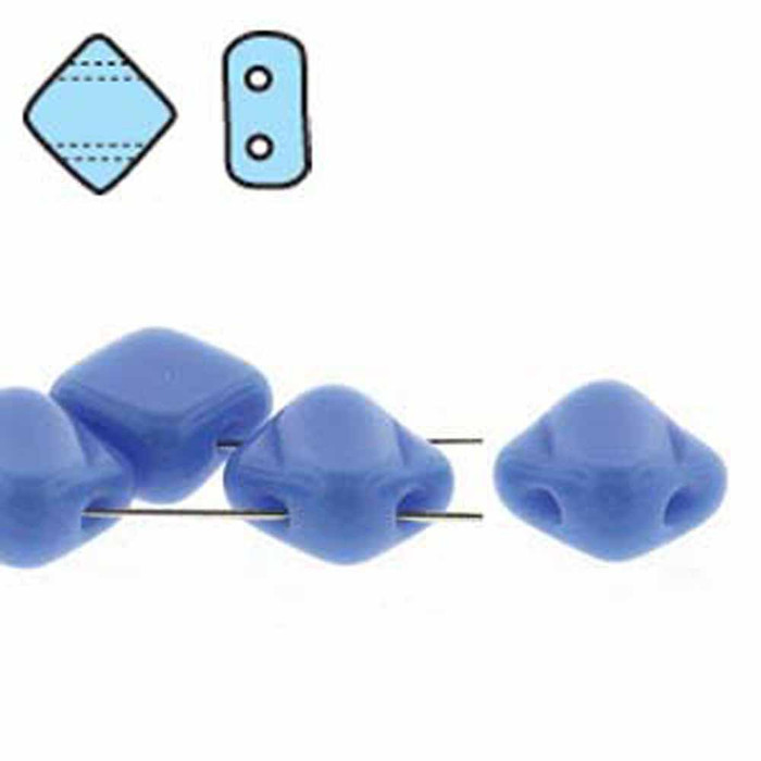 Blue Opaque 6mm Diamond Glass Czech Two Hole Tile Bead 40 Beads