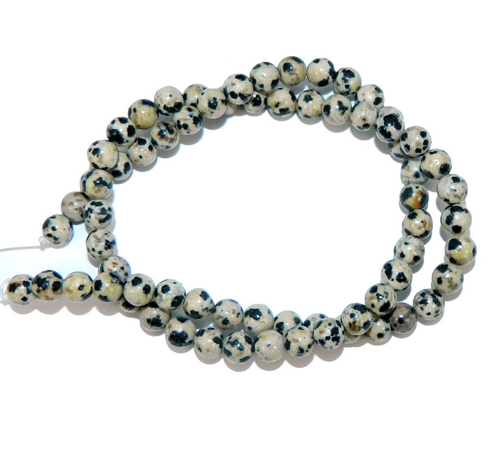 "6mm Dalmatian Japer Natural  Round Beads 40cm 15""  Stone"