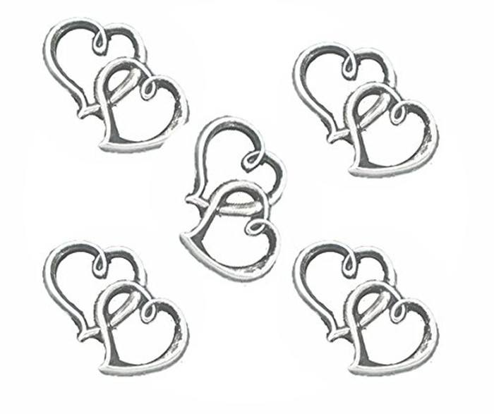 18 Charm Pendants Beads 2 Open Heart Antique Silver 32x25mm