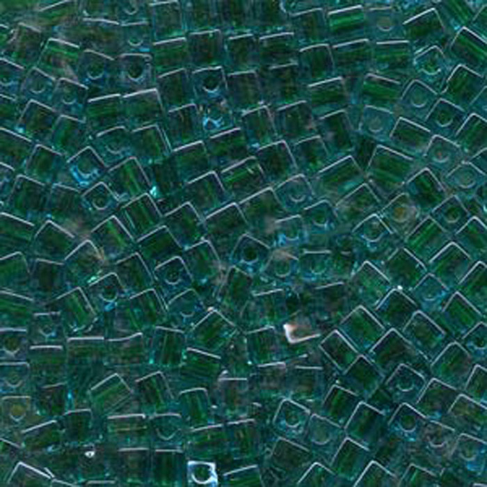 20Gr Blue Lined Green Miyuki 4mm Square Cube Glass Seed Beads