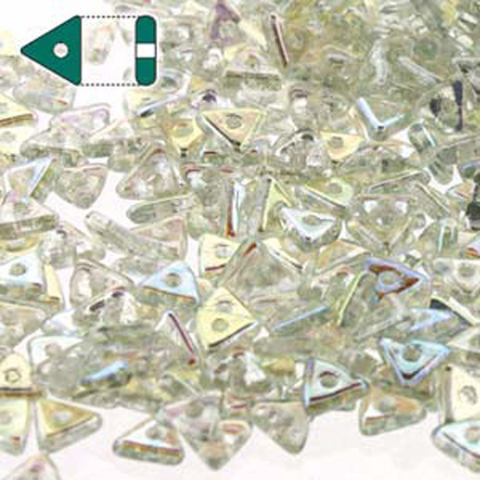 Crystal Green Rainbow Czech Glass Sead Tri Beads 4.6mmx1.3mm Thick Approx 9gr Tube