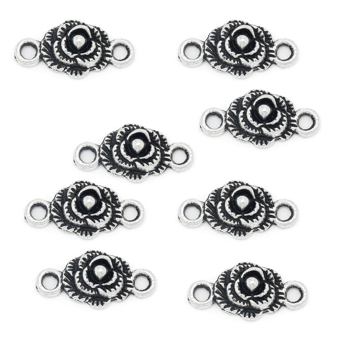 18 Rose Connectors Antique Silver 19x10mm