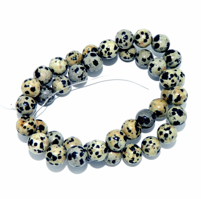 10mm Dalmatian Jasper Natural  Beads 15 Inches of 38 Beads