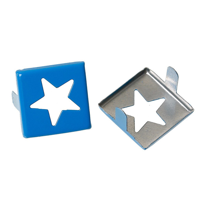Spike Rivets Studs Square Silver Tone Star Pattern Painted Blue 15mm X 15mm, 250 Pcs