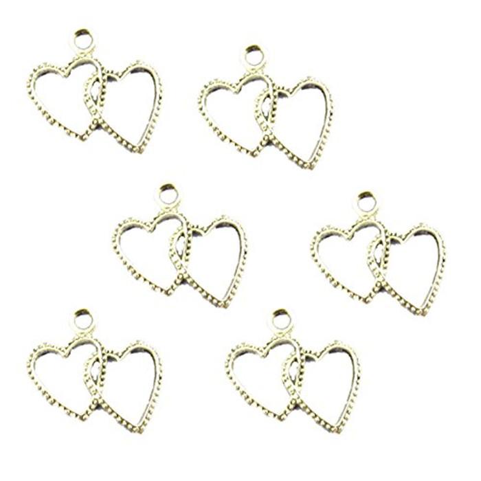 38 Charm Pendants Beads Heart Antique Silver 20x23mm