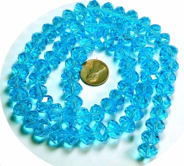 12x8mm Aqua Blue Luster Crystal Glass Faceted Rondelle Beads. 72 Piece