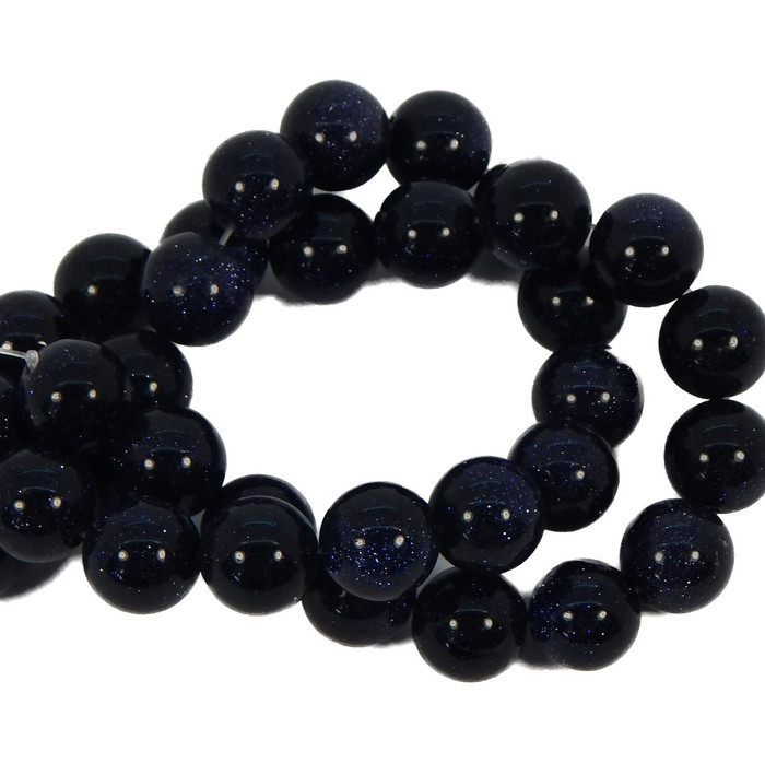 10mm Manmade Blue Goldstone Beads 15 Inches 38 Beads