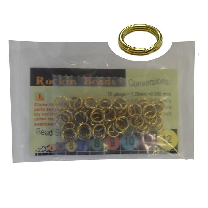 48 Split Ring  Lanyard, Dog Tag  Polished Brass 7.5mm USA