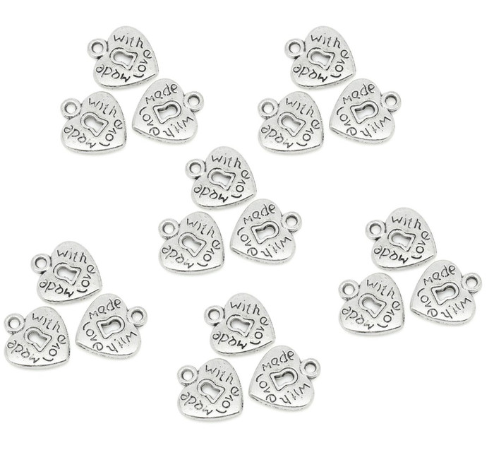 180 Charm Pendants Heart Antique Silver Made with Love 12x13.5mm