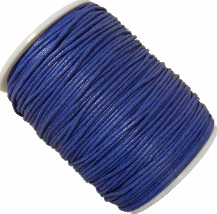 Blue 1.5mm Waxed Cotton Jewelry Macrame Craft Cord 80 Yards Wolven Round