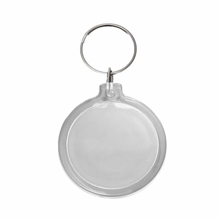10 Key Chains with Key Rings with Transparent 1-3/4 Inch Plastic Picture Frame
