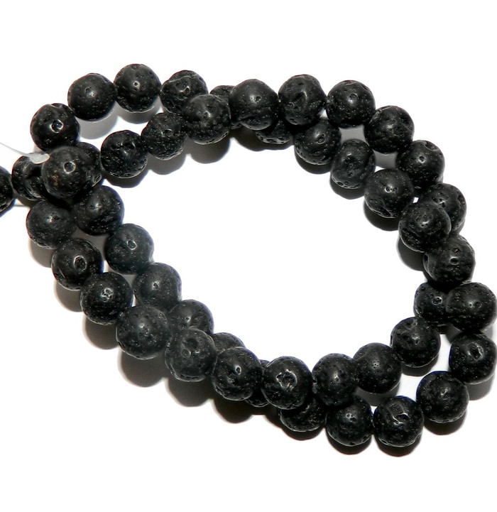 "8mm Volcanic Lava Rock Natural Round Beads 40cm 15"" Stone"