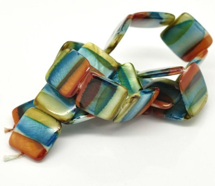 20mm Puffed Square Mother of Pearl Shell 15 Beads Dyed Orange Blue