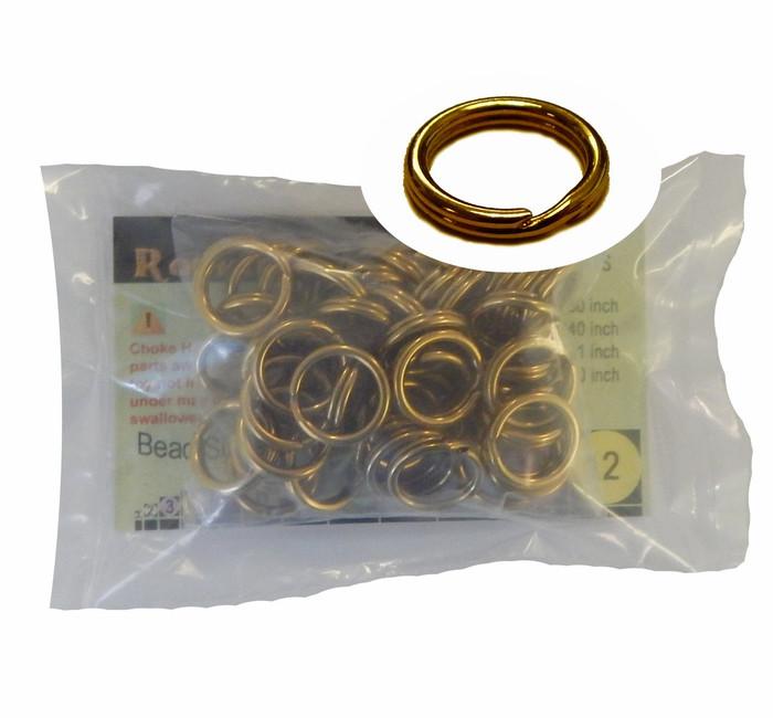 48 Split Ring  Lanyard, Dog Tag  Polished Brass 15mm USA