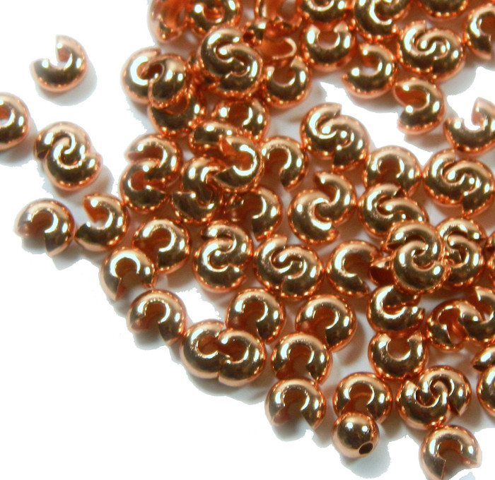 200 5mm Crimp Knot Covers Copper Plated Brass Findings