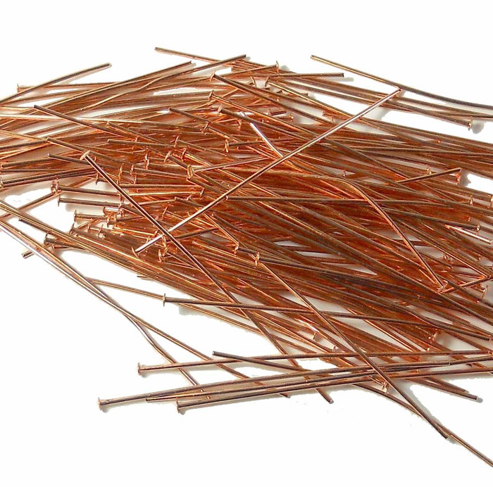 144 Head Pins 029dia X 2 Inch Copper Plated St ard 21 Gauge Wire