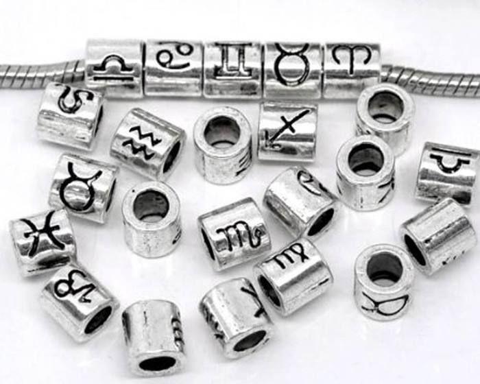 36  Silver Zodiac Spacer Beads Fit Easy Fit European Bracelet 7.5mm
