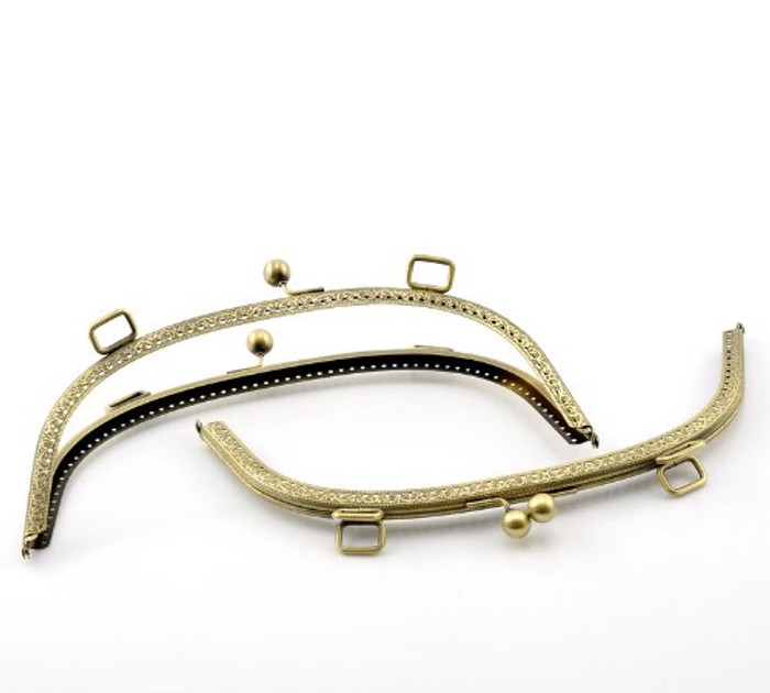 """1 Metal Purse Large 10x4 3/8"""" Frames Snap Clasp Arch Pattern Antiqued Brass"""